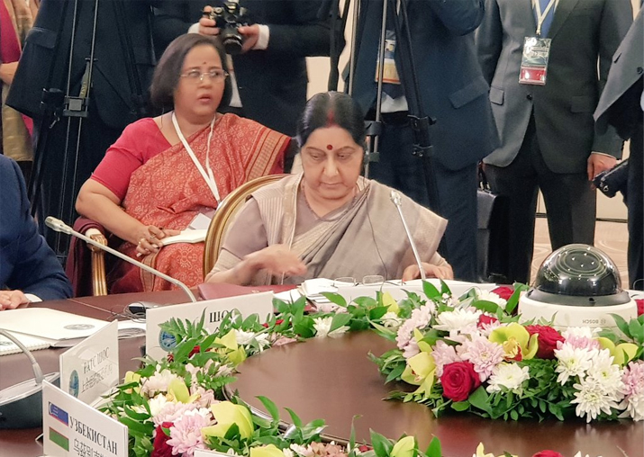 Sushma Swaraj speaking at the restricted session of the