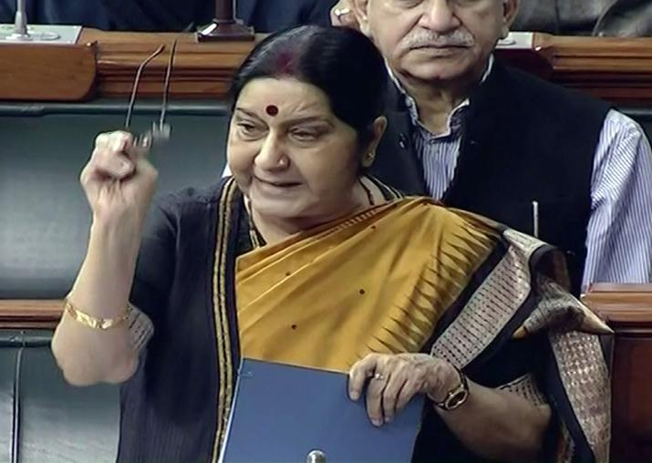 Sushma Swaraj speaks in the Lok Sabha in New Delhi on