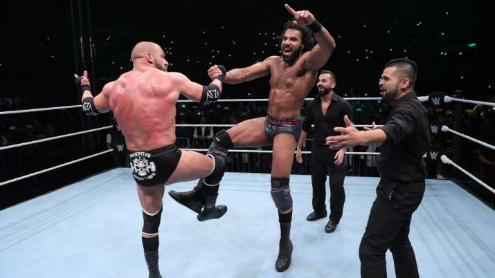 India Tv - Triple H does the Bhangra with Jinder Mahal