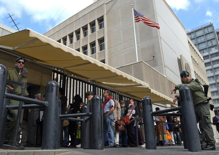 File - An Israeli border policemen guards the US Embassy in