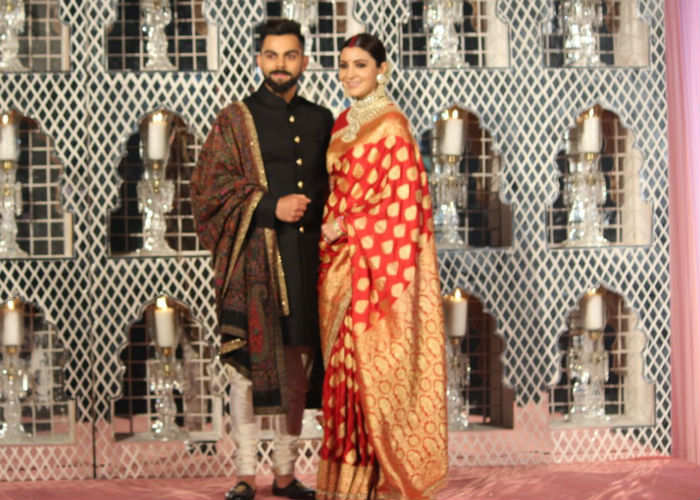 India Tv - Anushka Sharma and Virat Kohli at their wedding reception in Delhi