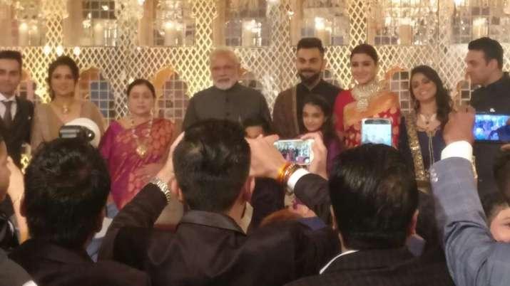India Tv - PM Modi at Virushka reception