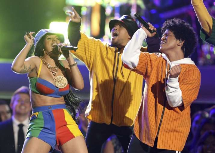 "India Tv - Bruno Mars and Cardi B performed ""Finesse"" at the 60th annual Grammy Awards at Madison Square Garden."
