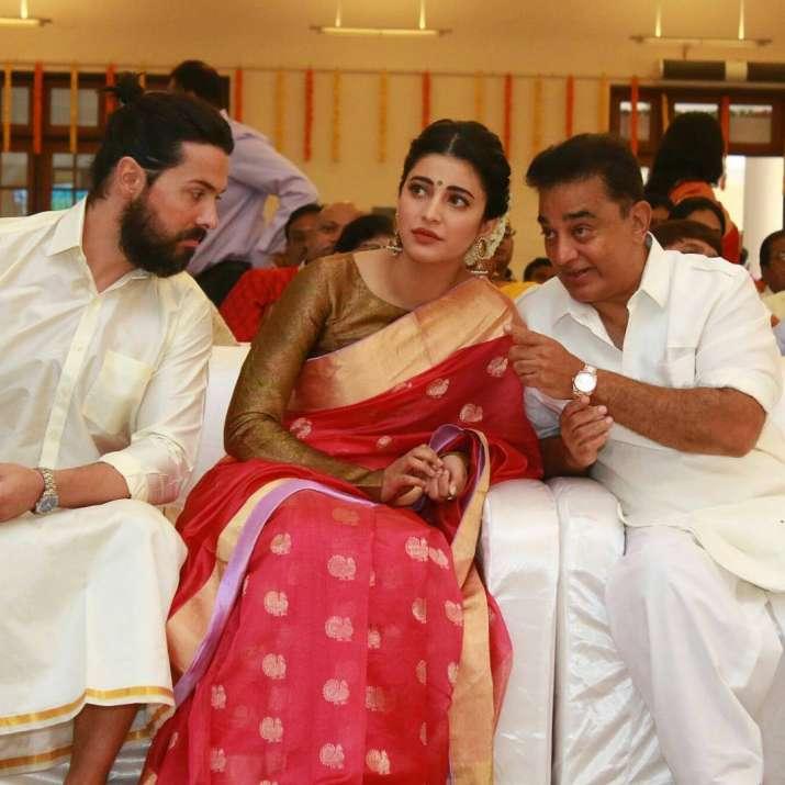 India Tv - Shruti and Michael with Kamal Haasan