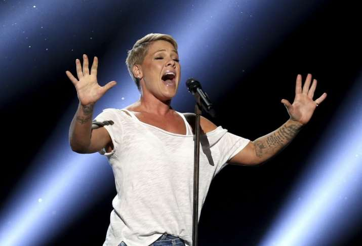 "India Tv - Pink performed Wild Hearts Can't Be Broken"" at the 60th annual Grammy Awards"
