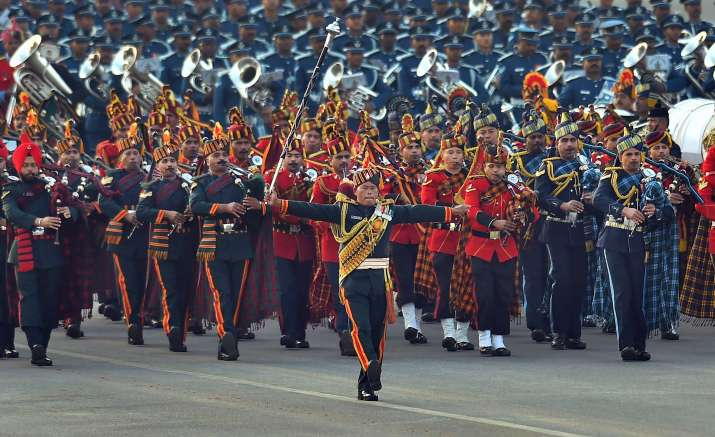India Tv - Tri-services bands perform at the Beating Retreat ceremony at Vijay Chowk in New Delhi on Monday.