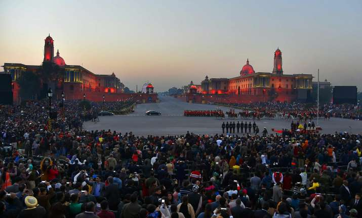 India Tv - A view of the Beating Retreat ceremony at Vijay Chowk in New Delhi on Monday