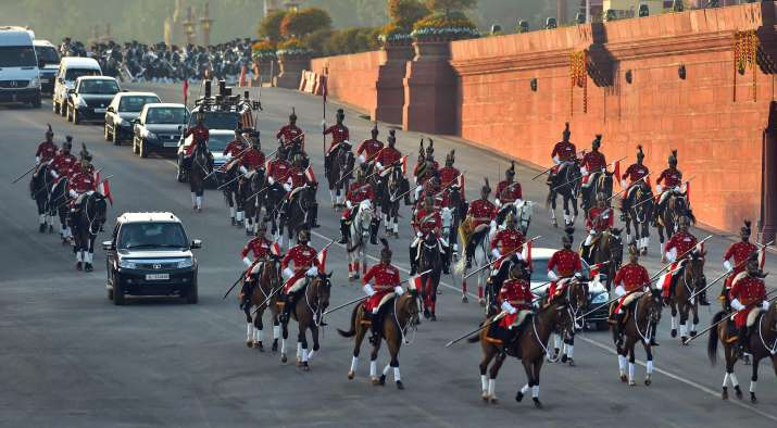 India Tv - President's cavalcade arrives at the Beating Retreat ceremony at Vijay Chowk in New Delhi on Monda