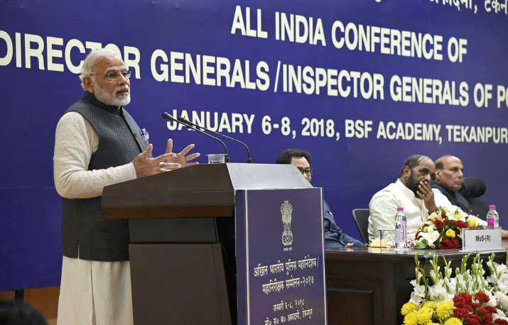 PM Modi addressing the annual conference of the DGPs and