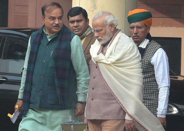 PM Modi, Ananth Kumar, Jitendra Singh and Vijay Goel leave
