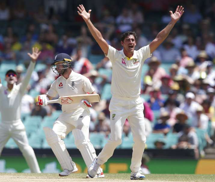 India Tv - Mitchell Starc appeals for an LBW on Stoneman.