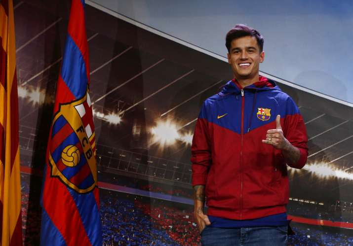 India Tv - Philippe Coutinho wearing the Barca colours.