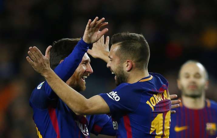 India Tv - Messi celebrates with Alba.