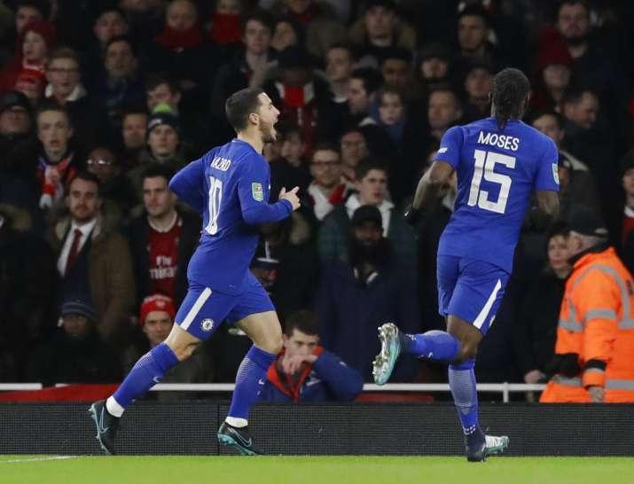 India Tv - Eden Hazard celebrates his goal.