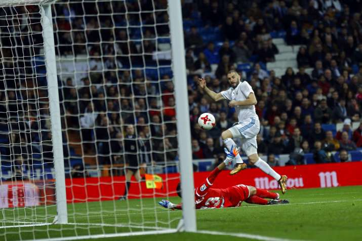 India Tv - Karim Benzema scores the lone goal for Madrid.