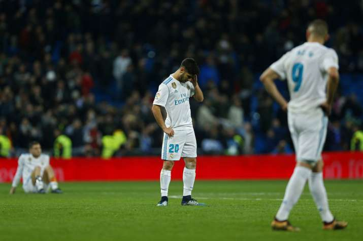 India Tv - Real Madrid players look dejected after losing.