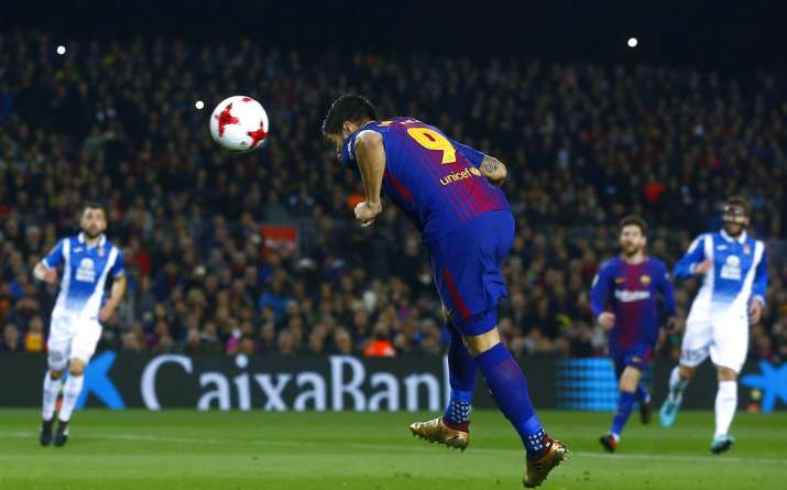 India Tv - Luis Suarez scores a header against Espanyol