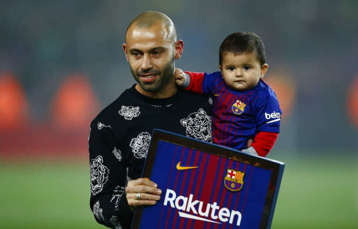 India Tv - Javier Mascherano was honoured at the end of the match