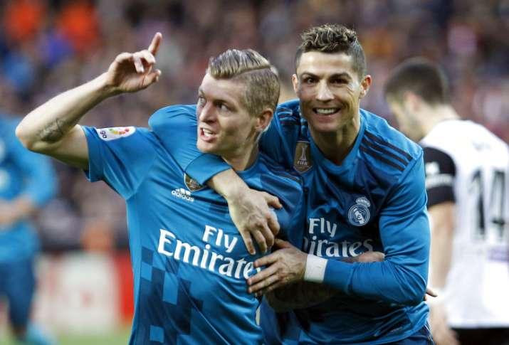 India Tv - Ronaldo celebrates with Toni Kroos after scoring.