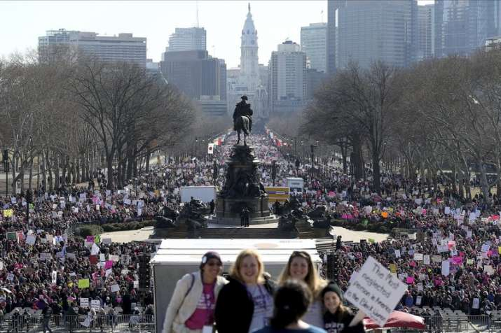 India Tv - Thousands gather during the Women's March in Philadelphia. The march is among dozens of rallies being held around the United States.