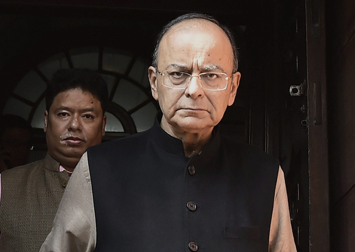 Finance Minister Arun Jaitley at Parliament House on the