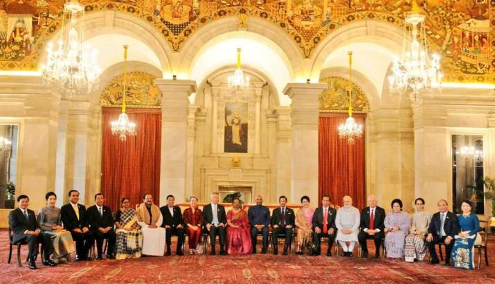 India Tv - PM Modi with ASEAN Heads of State/Governments, their spouses and ASEAN Secretary General at Rashtrapati Bhavan