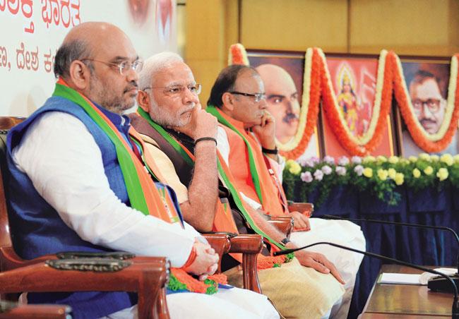 BJP President Amit Shah, Prime Minister Narendra Modi and