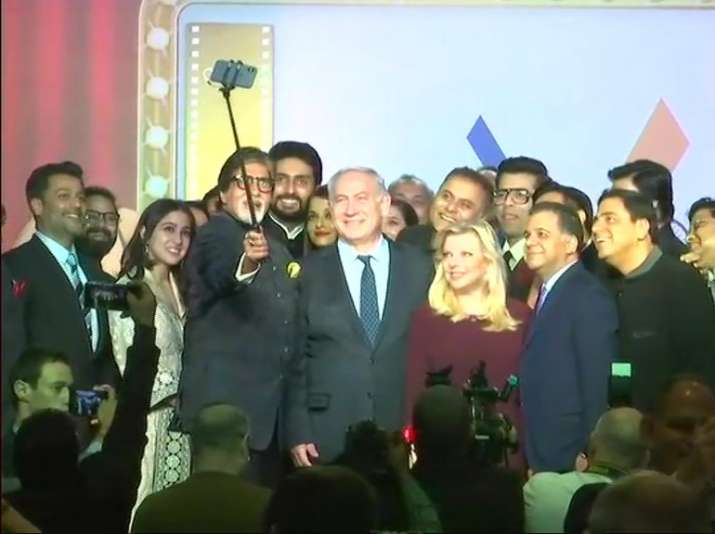 India Tv - Bollywood celebrities posing with Israeli PM Netanyahu for a selfie.