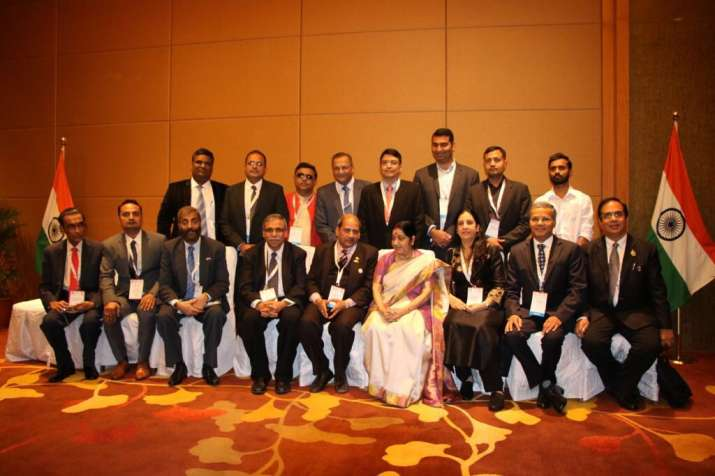 EAM Sushma Swaraj interacting with delegations of India
