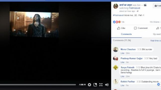India Tv - Facebook page live streams Padmaavat