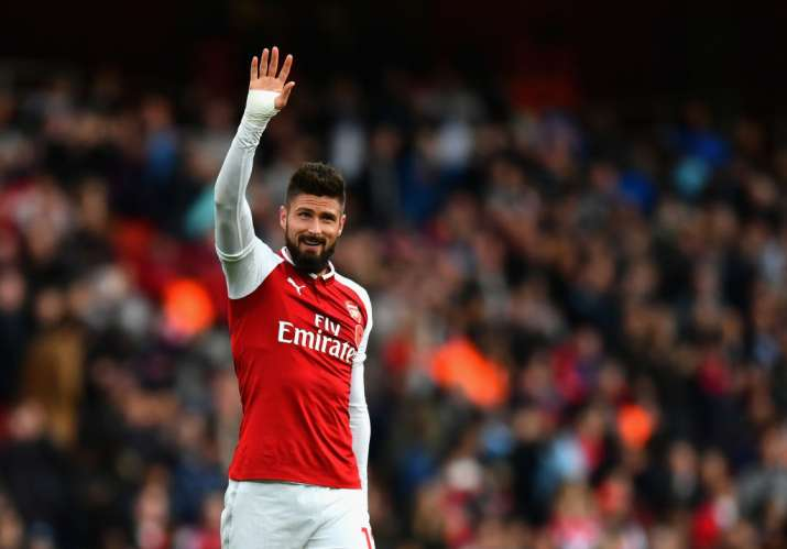 India Tv - Olivier Giroud applauds the fans after a match.