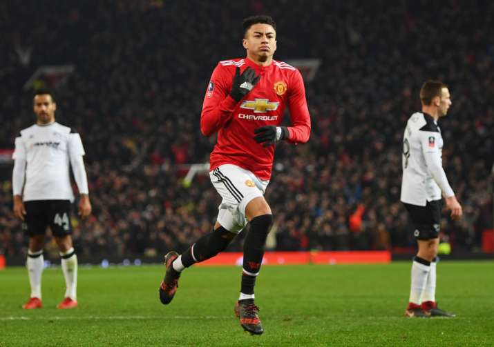 India Tv - Jesse Lingard celebrates after scoring for Manchester United
