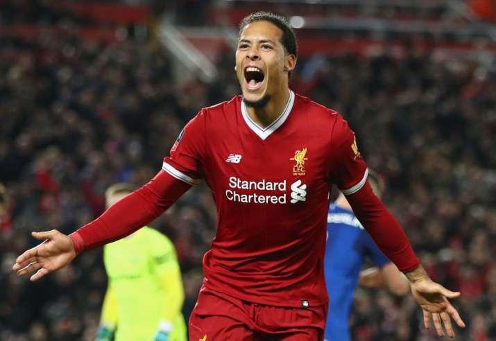 India Tv - Van Dijk celebrates after a debut goal for Liverpool
