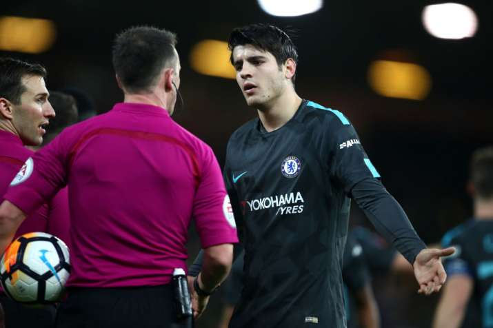 India Tv - Chelsea's Alvaro Morata argues with the referee during a match.