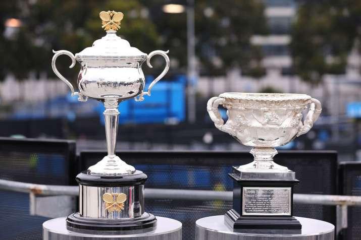India Tv - The Australian Open trophies for Women and Men.