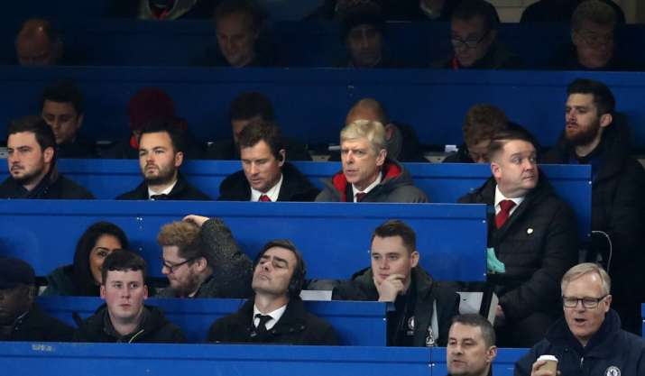 India Tv - Arsenal manager Arsene Wenger sits in the Media Box at the match.