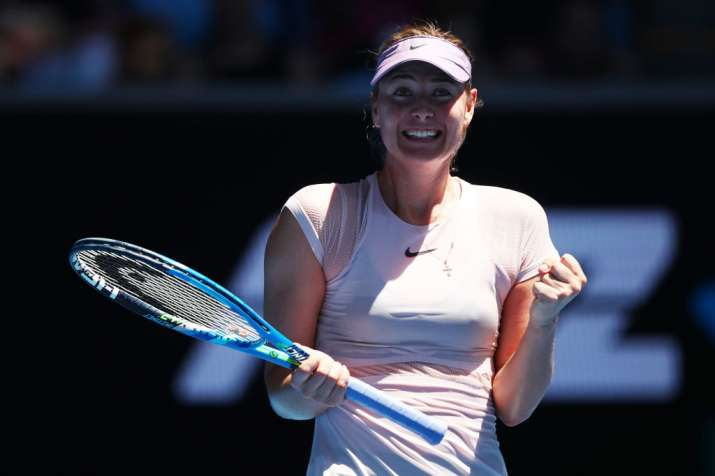 India Tv - Maria Sharapova reacts after winning the first round of the Australian Open