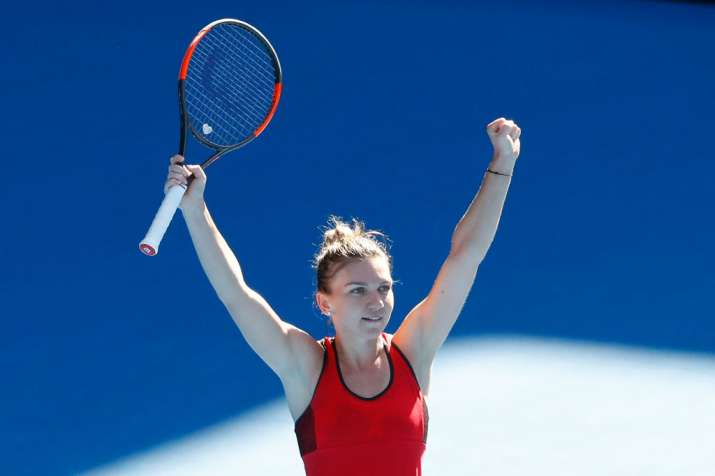 India Tv - Simona Halep celebrates after defeating Pliskova in the quarters.