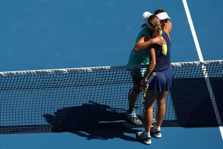 India Tv - Mertens congratulates Wozniacki.