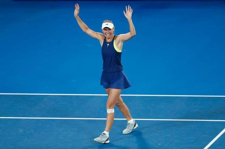 India Tv - Caroline Wozniacki celebrates after winning the Australian Open women's singles