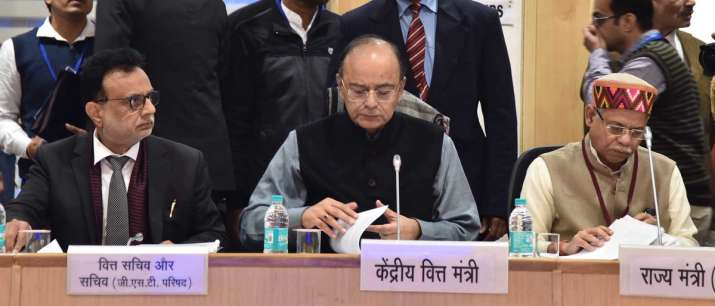 India Tv - Finance Minister Arun Jaitley chairing 25th GST Council meeting in New Delhi on January 18
