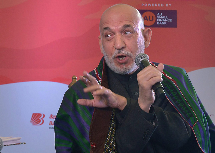 Hamid Karzai speaks at a session during Jaipur Literature