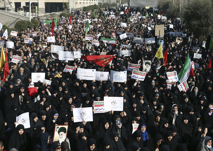 File pic - Iranian protesters chant slogans at a rally in