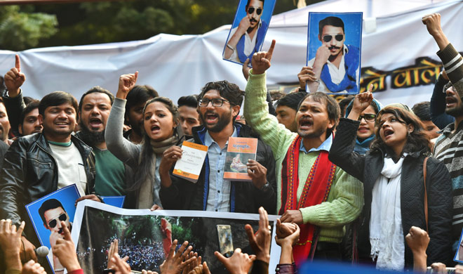 India Tv - Dalit leader and Gujarat MLA Jignesh Mevan, Shehla Rashid, Kanhaiya Kumar and farmers leader Akhil Gogoi during a rally in New Delhi on Tuesday.