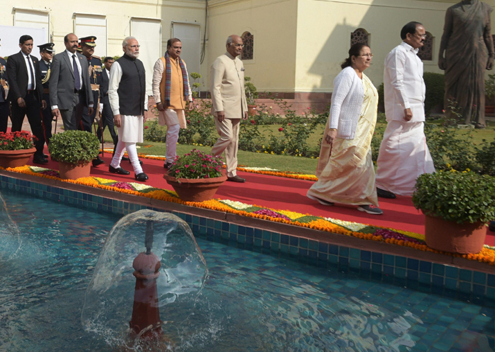 India Tv - President Ram Nath Kovind, VP Venkaiah Naidu, PM Narendra Modi and Speaker Sumitra Mahajan walk towards the Central Hall at Parliament House for President's maiden speech on first day of Budget Session