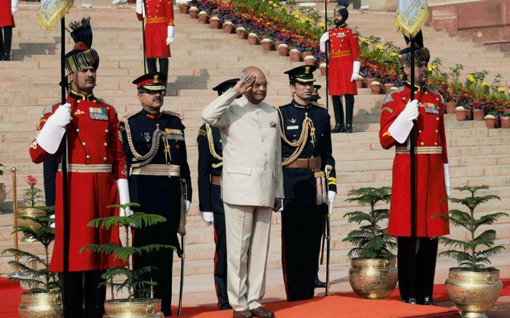 India Tv - President Kovind offers salute before he leaves Rashtrapati Bhavan for Parliament to address the first day of Budget Session