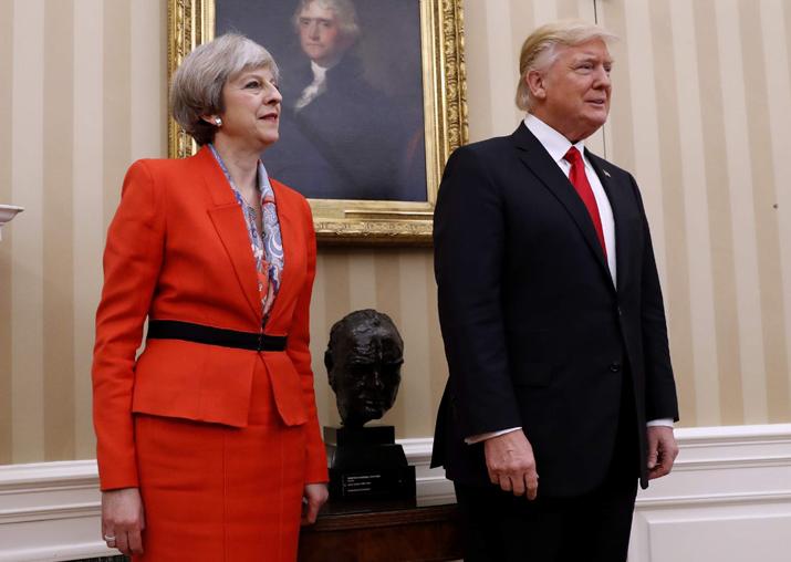 File pic - Theresa May and Donald Trump