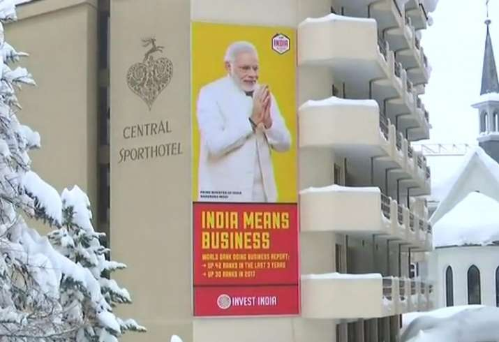 India Tv - Giant billboards of Prime Minister Narendra Modi have already appeared in the resort town of Swiss alps town of Davos