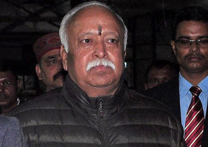 RSS chief Mohan Bhagwat arrives at Guwahati airport ahead