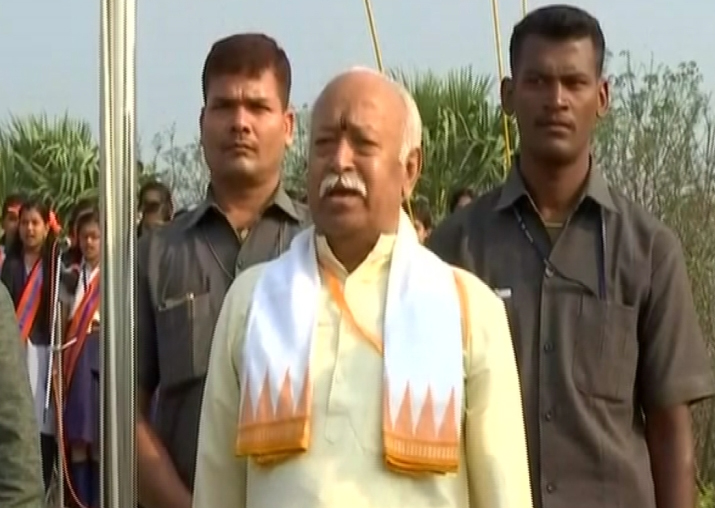 RSS chief Mohan Bhagwat unfurls national flag at school in